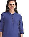 Karigari Blue Check Panel Cotton Kurta