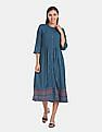 Karigari Women Blue Printed Fit And Flared Dress