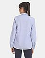 GAP Women Blue Spread Collar Dobby Shirt