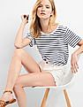 GAP Stripe Pleat Back Boat Neck Tee
