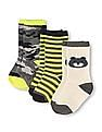 The Children's Place Toddler Boy Bear, Striped, And Camo Print Socks - Pack Of 3