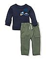 The Children's Place Baby Long Sleeves Outer Space Patch Top And Jogger Pants Set