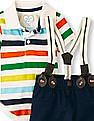 The Children's Place Baby Boys Short Sleeve Striped Polo And Suspender Woven Shorts Set