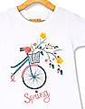 Cherokee White Girls Floral Accent Graphic T-Shirt