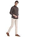 Arrow Sports Brown And Navy Slim Fit Button Down Shirt