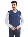 U.S. Polo Assn. Blue Sleeveless Lambswool Sweater