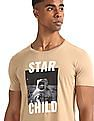 Flying Machine Beige Printed Front Cotton T-Shirt