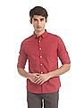 Flying Machine Red Spread Collar Printed Shirt