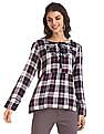 Cherokee Multi Colour Embroidered Check Top