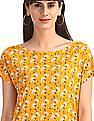 Cherokee Yellow Extended Shoulder Printed Top