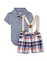 The Children's Place Baby Boy Assorted Short Sleeve Polo Bodysuit Suspenders And Plaid Shorts Set