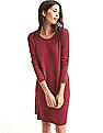 GAP Women Red Softspun Knit Long Sleeve Swing Dress